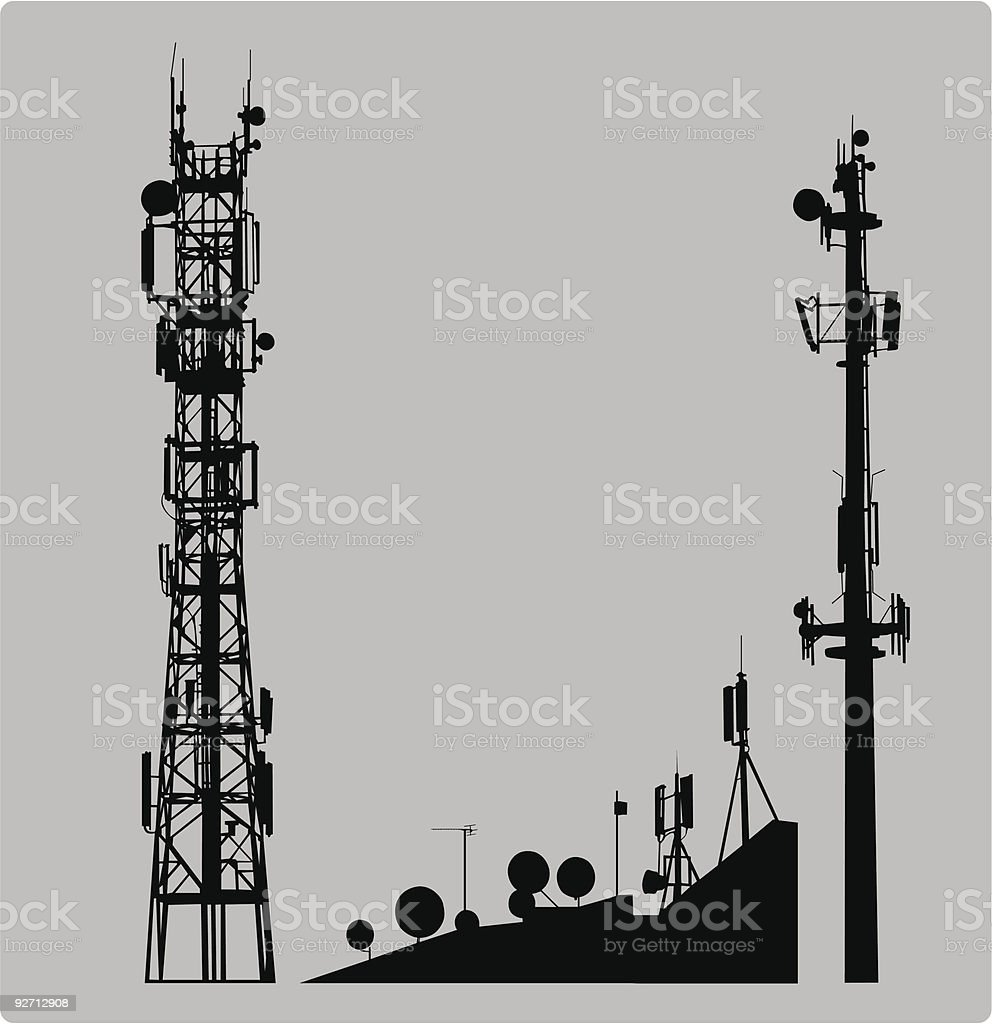 Communicatios Mast vector art illustration