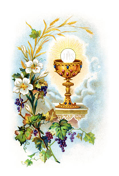 communion illustration litograph - communion stock illustrations, clip art, cartoons, & icons