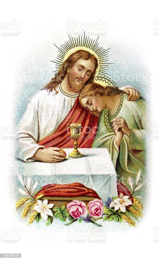 Communion - Lithograph illustration vector art illustration