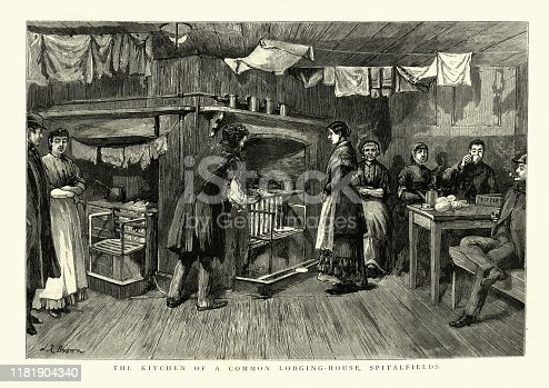 Vintage engraving of a Community Kitchen, Common lodging house, Spitalfields in the East End of London, 1886, 19th Century