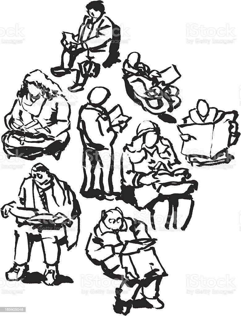 Commuting People Reading Book Newspaper Sketch vector art illustration