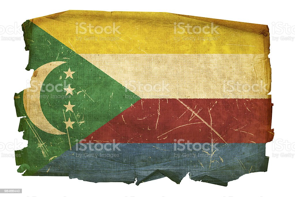 Comoros Flag old, isolated on white background. royalty-free comoros flag old isolated on white background stock vector art & more images of aging process