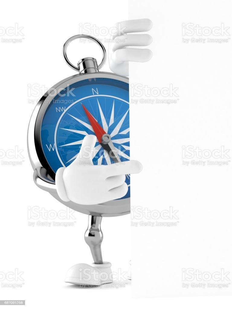 Kompass Charakter hinter weißen Tafel Lizenzfreies kompass charakter hinter weißen tafel stock vektor art und mehr bilder von abenteuer