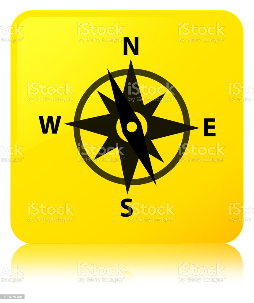 Compass icon yellow square button vector art illustration