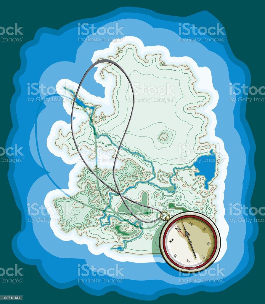 Compass Island royalty-free stock vector art