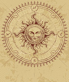Compass rose with sun on grunge background.