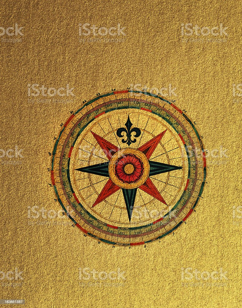 Compass Rose on golden Paper royalty-free compass rose on golden paper stock vector art & more images of adventure