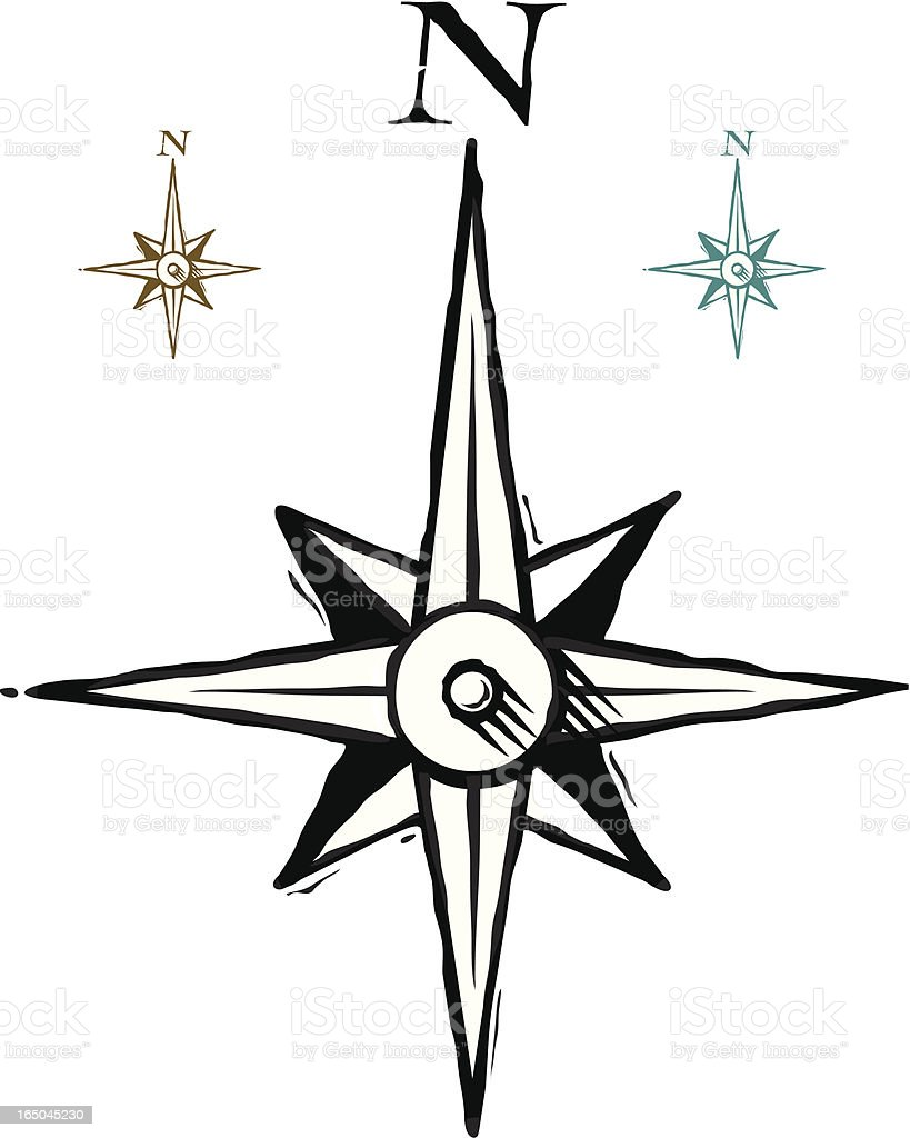 Compass rose three royalty-free stock vector art