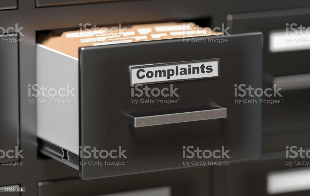 Complaints files and documents in cabinet in office. 3D rendered illustration. - ilustração de arte vetorial