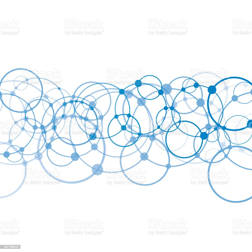 Complex circle network vector art illustration