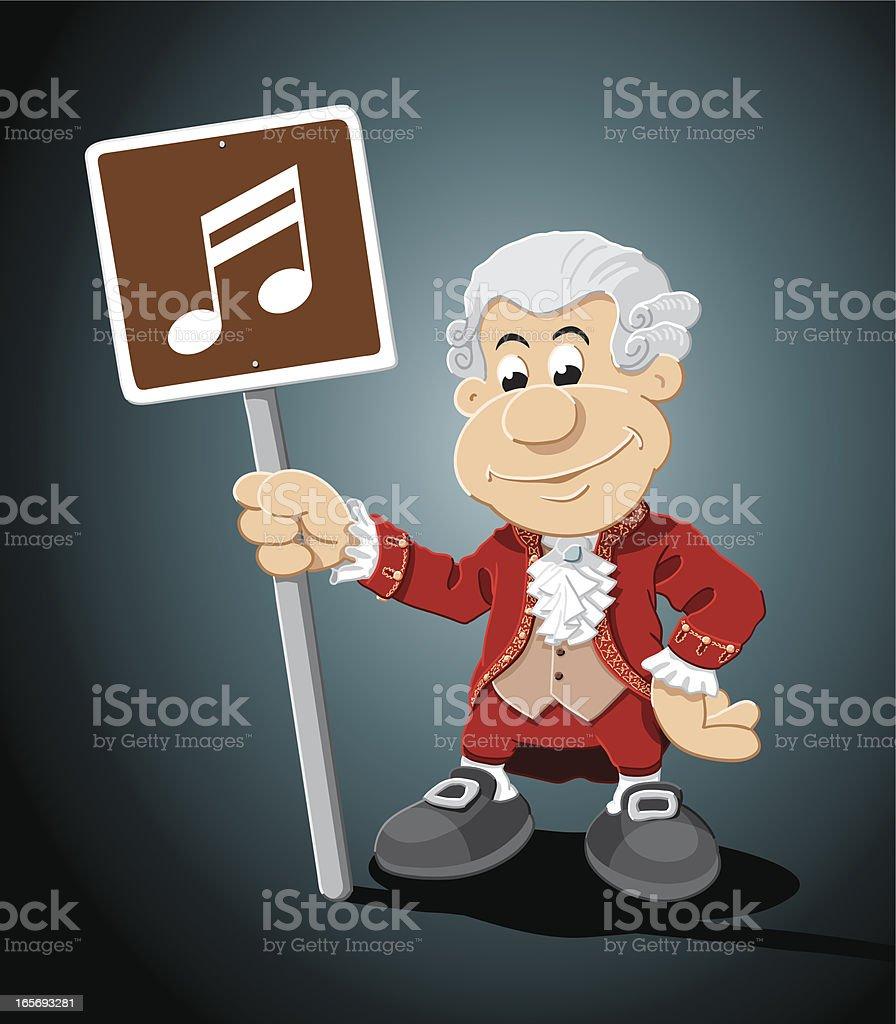 Composer Cartoon Man Music Sign vector art illustration