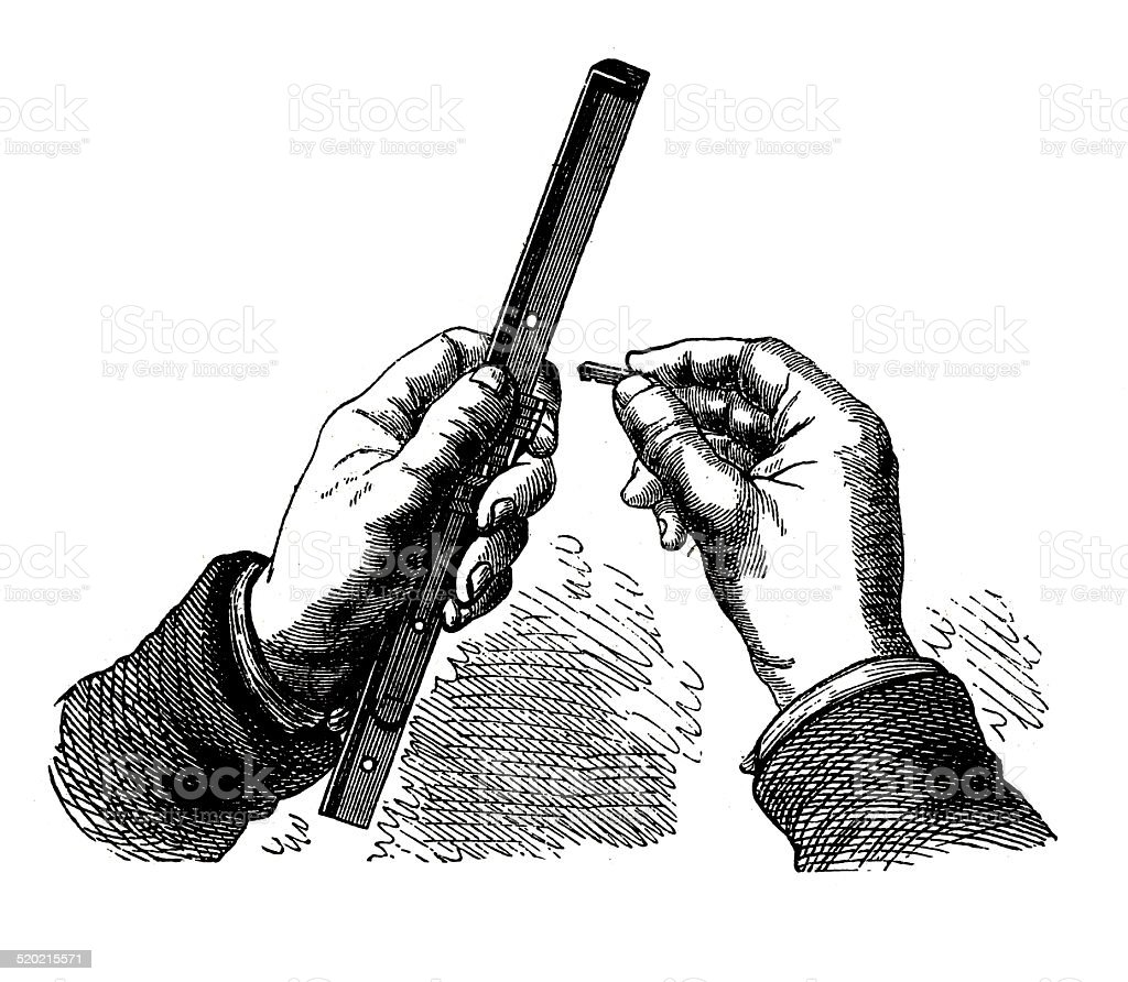 Composing stick (antique engraving) vector art illustration
