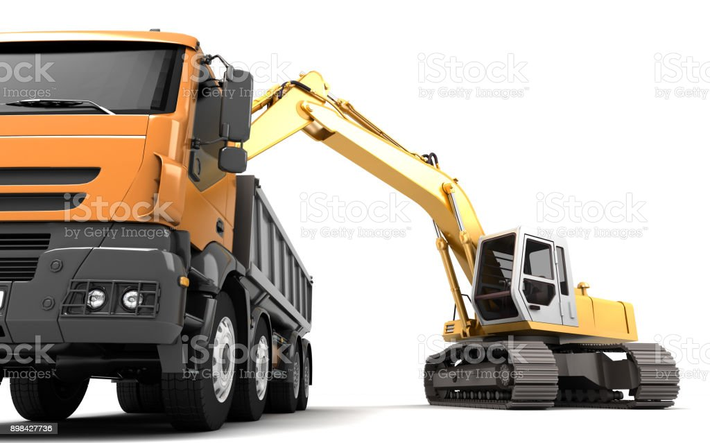 Composition of hydraulic Excavator loading dump truck. 3d illustration. Front view. Isolated on white vector art illustration