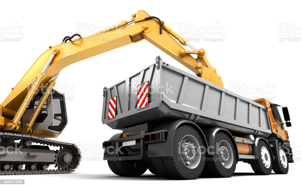 Composition of hydraulic Excavator loading dump truck. 3d illustration. Side view. Isolated on white vector art illustration