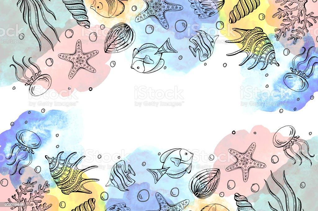 Ilustración de Composición De Conchas Marinas Estrellas De Mar ...