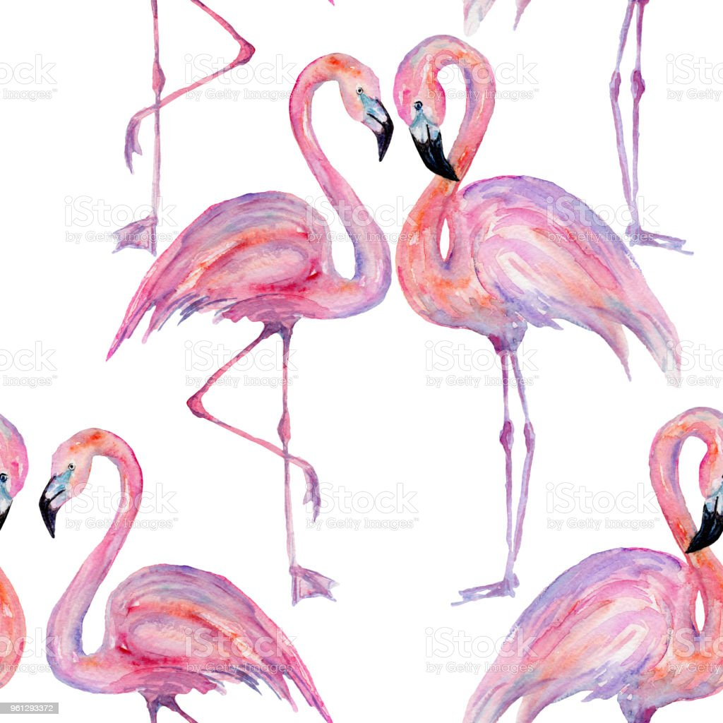 Composition of the trendy summer flamingos. Hand drawn watercolor. vector art illustration