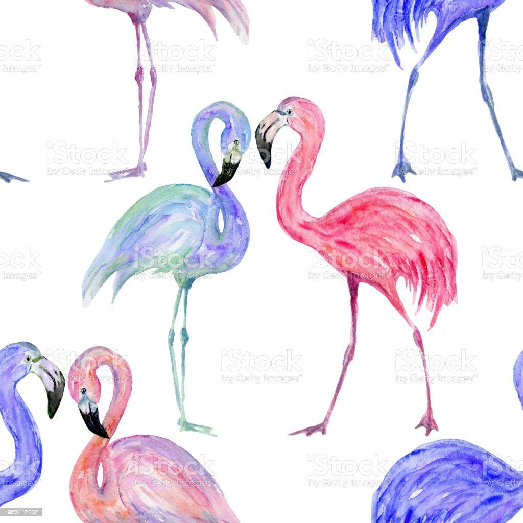 組成的時髦的夏季火烈鳥。手繪水彩。 - 免版稅具有特定質地插圖檔