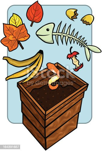 compost bin with compostables stock vector art amp more