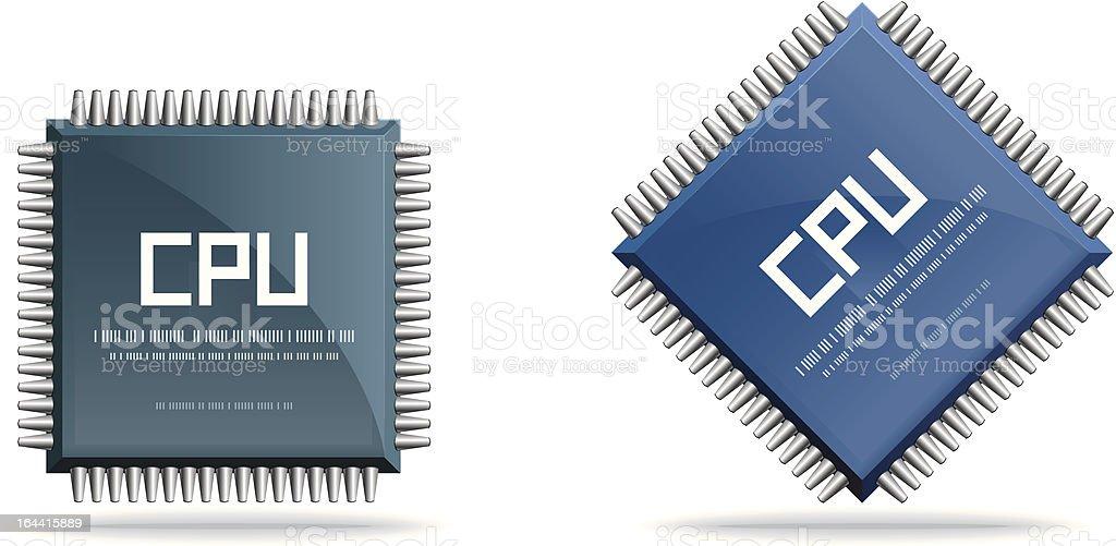 CPU (central processing unit) - Computer chip vector art illustration
