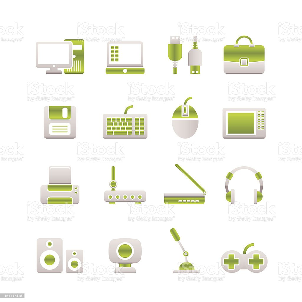 Computer equipment and periphery icons royalty-free stock vector art
