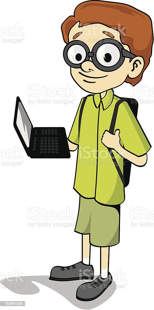 Computer geek carrying a laptop royalty-free stock vector art