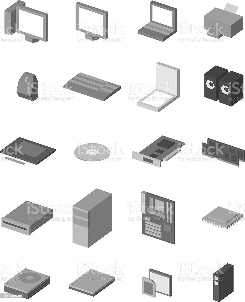 Computer Hardware Icon Pack Stock Illustration - Download
