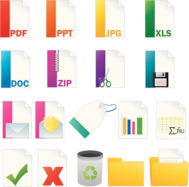 Computer icon set vector art illustration
