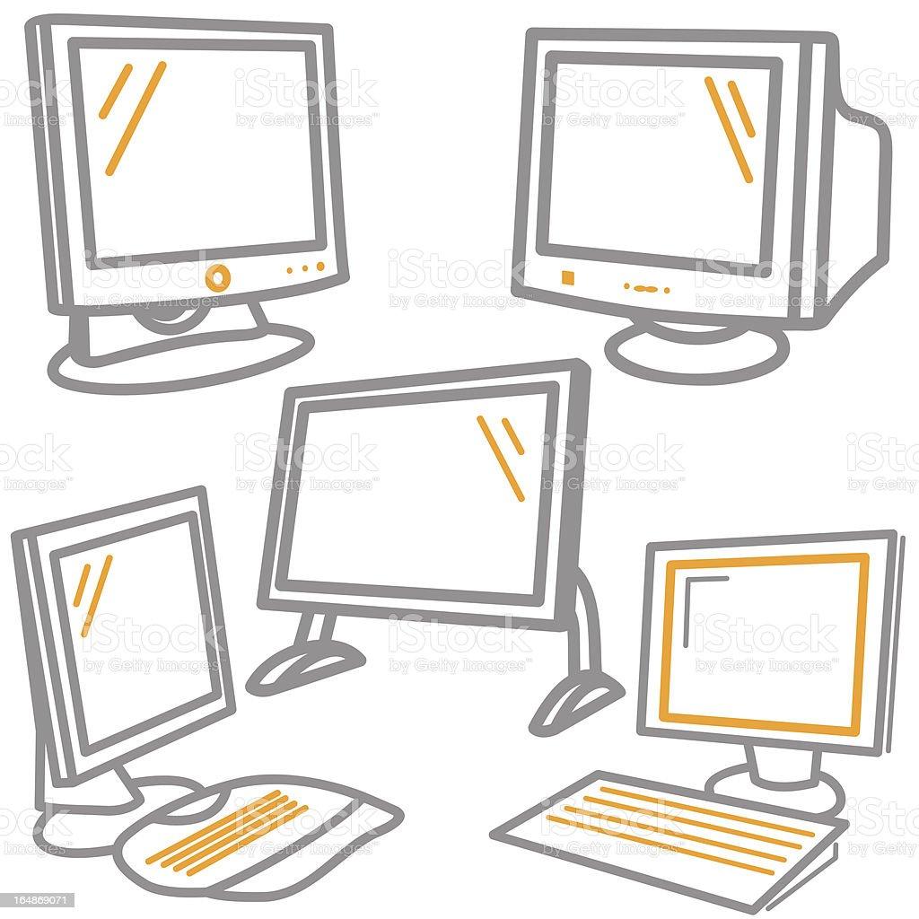 Computer Icons: Monitors, Keyboards (Vector) royalty-free stock vector art