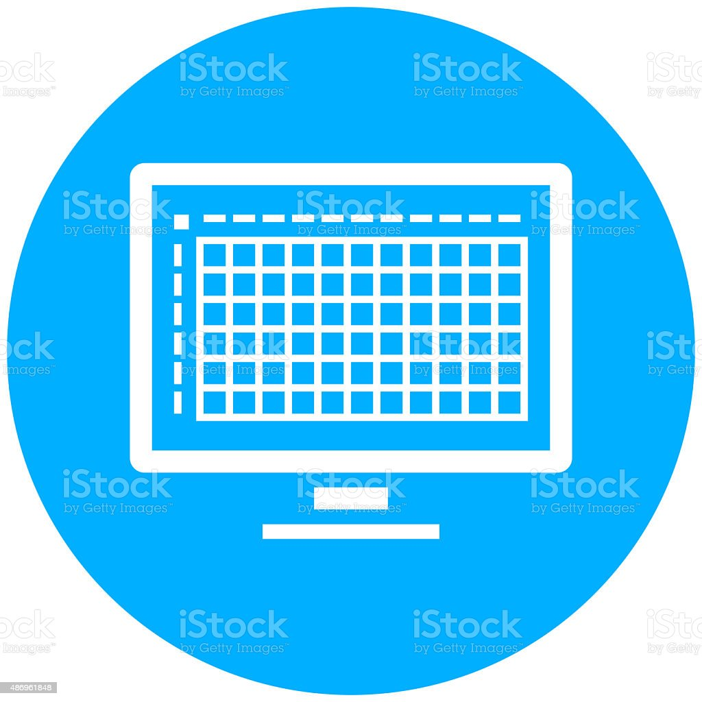 Computer Monitor icon on a round button. royalty-free computer monitor icon on a round button stock vector art & more images of 2015