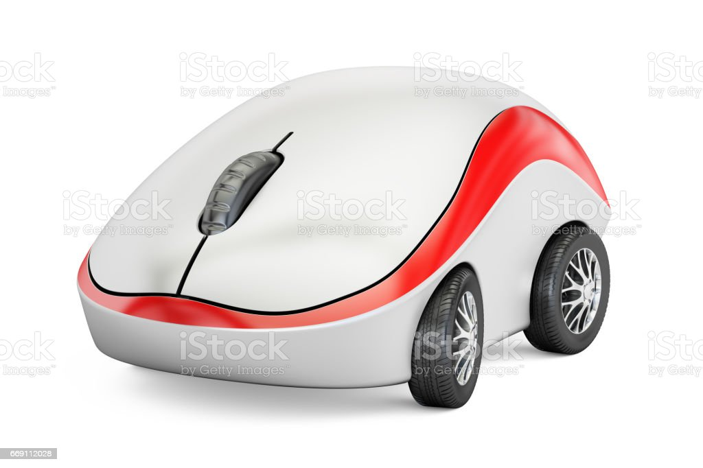 Computer Mouse on car wheels, 3D rendering isolated on white background vector art illustration