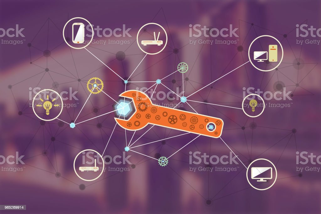 Computer network repair concept illustration royalty-free computer network repair concept illustration stock vector art & more images of assistance
