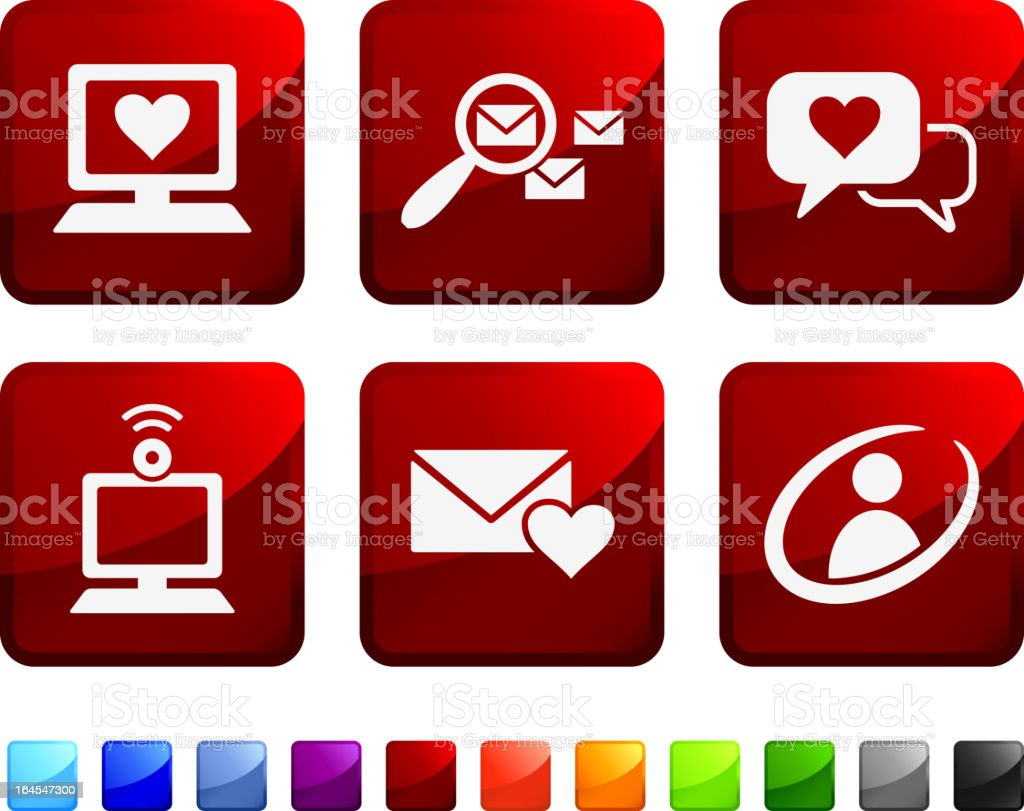 Computer online dating communication royalty free vector icon set stickers royalty-free stock vector art