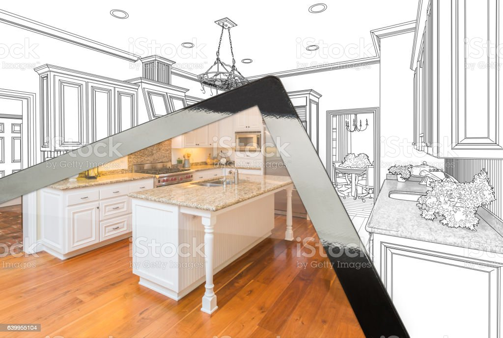 Computer Tablet Showing Photograph of Kitchen Drawing Behind vector art illustration