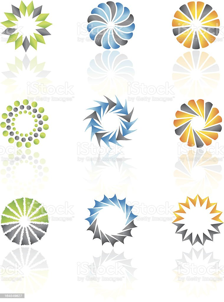 Concentric vector shapes and design elements royalty-free stock vector art