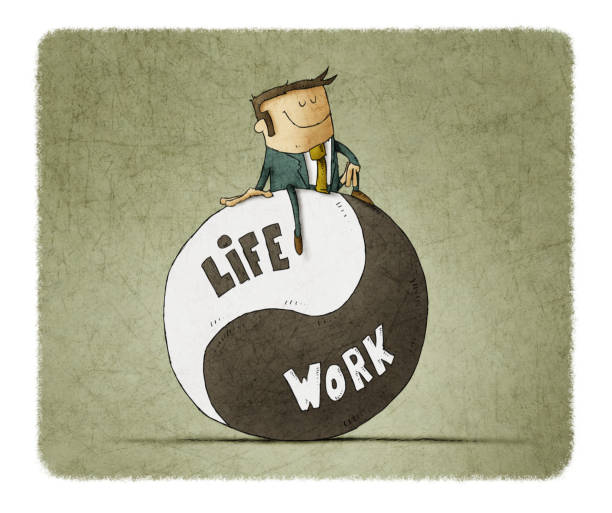 Concept about balance work and life. Life coach give advice about work-life balance. vector art illustration