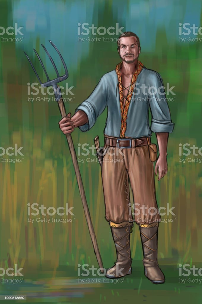 Concept Art Fantasy Illustration Of Young Villager
