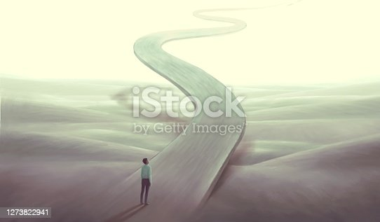 Concept art of  success hope dream way and ambition , surreal landscape painting,  man with floating road , imagination artwork, conceptual illustration