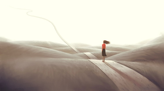 Concept art of  success hope dream way and ambition , surreal landscape painting, business woman with floating road , imagination artwork, conceptual illustration