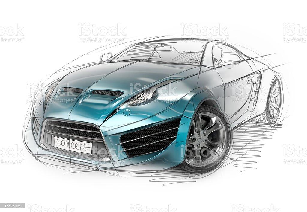 Concept car sketch vector art illustration