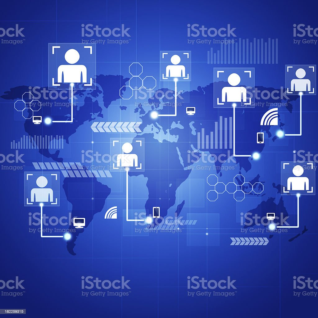 Concept Connections Blue Background - Royalty-free Abstract stock illustration