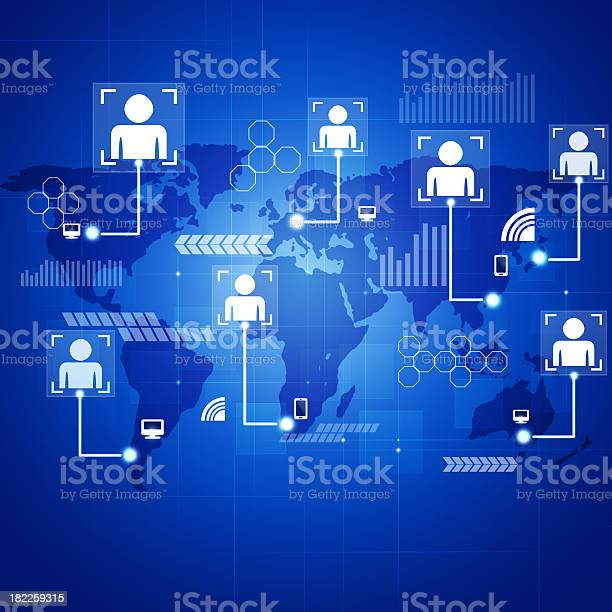 Concept Connections Blue Background Stock Illustration - Download Image Now