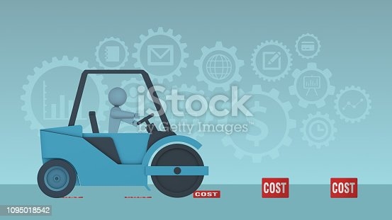a steamroller and some boxes with the label: cost. Some of them are crushed, concept of cutting costs, business icons on background, 2d flat cartoon style
