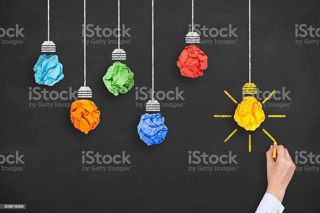 Concept of idea and innovation with light bulb - ilustración de arte vectorial