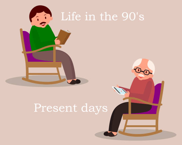 concept of past and future. man sitting in rocking chair. young man reading newspaper. cute man at home. senior man checks the news feed on the tablet.vector illustration. - old man sitting chair clip art stock illustrations, clip art, cartoons, & icons