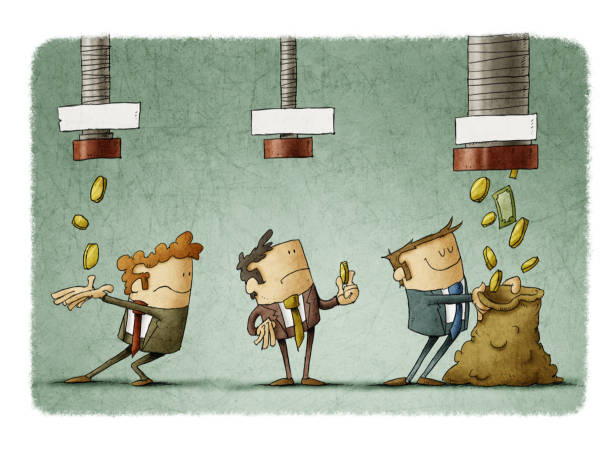 concept of salary difference. Three businessmen receive the money that falls from three pipes in different amounts. vector art illustration