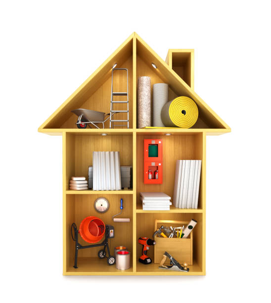 concept of the construction. Building materials and tools in a Doll house. 3D illustration concept of the construction. Building materials and tools in a Doll house. 3D illustration dollhouse stock illustrations