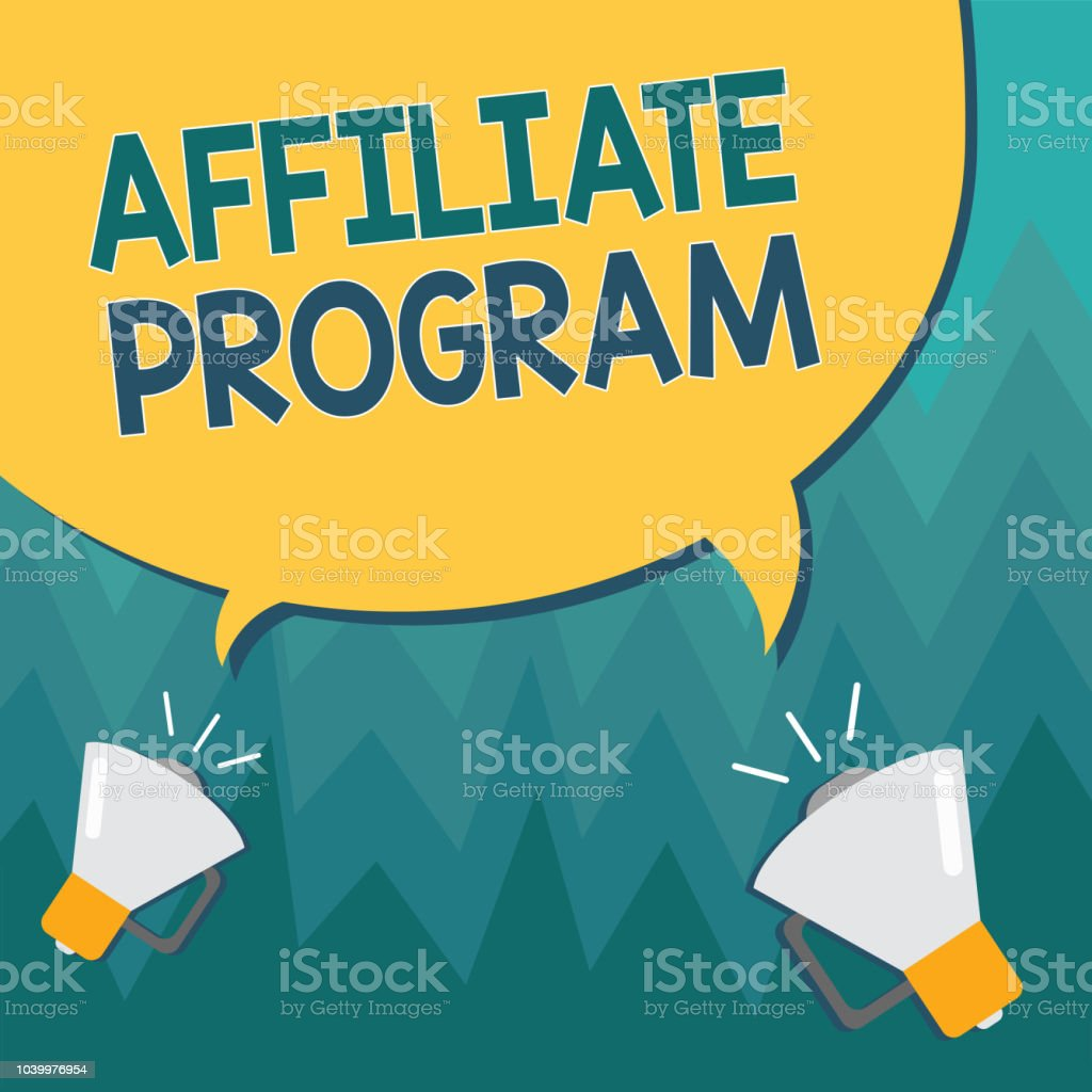 Conceptual hand writing showing Affiliate Program. Business photo showcasing Automated platform of two or more parties Associated vector art illustration