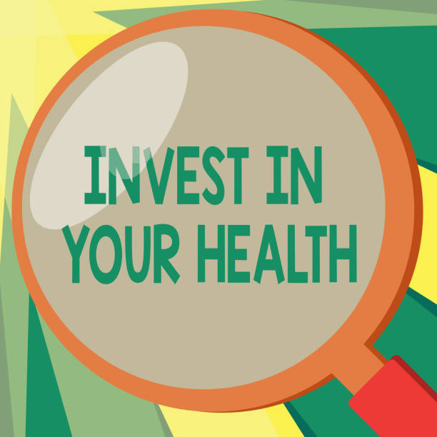 conceptual hand writing showing invest in your health. business photo showcasing live a healthy lifestyle quality food for wellness - physical therapy stock illustrations