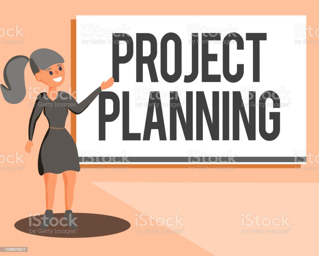 Conceptual hand writing showing Project Planning. Business photo showcasing schedules such as Gantt charts to plan report progress vector art illustration