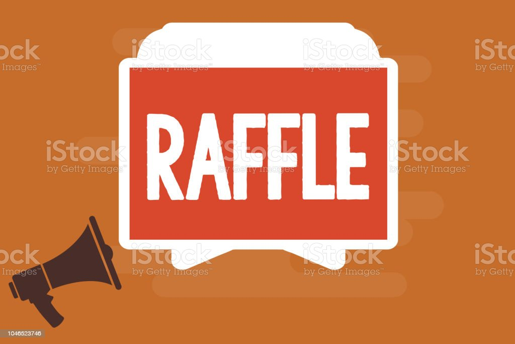 conceptual hand writing showing raffle business photo text means of raising money by selling numbered